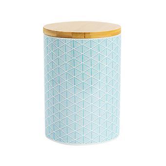 Nicola Spring Geometric Patterned Biscuit Barrel - Large Porcelain Kitchen Storage - Electric Blue - 14.5cm