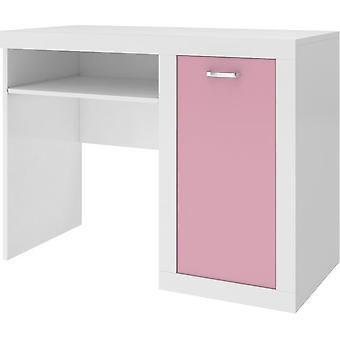 Børnebord - 100x80x52 cm - hvid/pink - med opbevaring