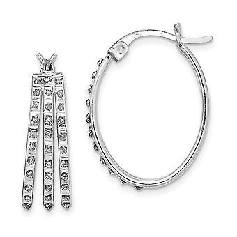 925 Sterling Silver Diamond Mystique Oval Hoop Earrings Jewelry Gifts for Women - .010 dwt