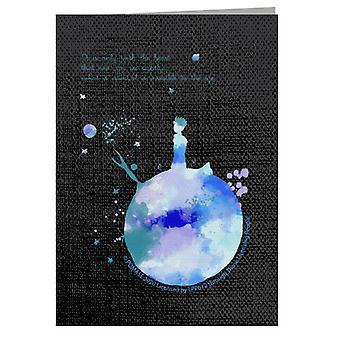 Der kleine Prinz blau Paint Effekt Herz Zitat Grußkarte