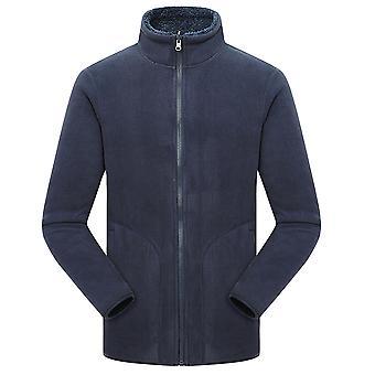 YANGFAN Mens Stand Collar Cardigan Full Zip Solid Color Coral Fleece Top