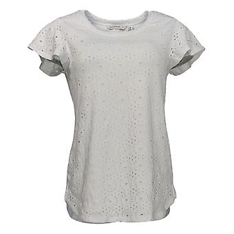 Isaac Mizrahi Live! Women's Top Eyelet Lace Short Sleeve White A354032