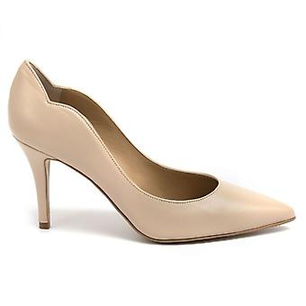 Décolletè Beige Leather Frenzy With High Heel