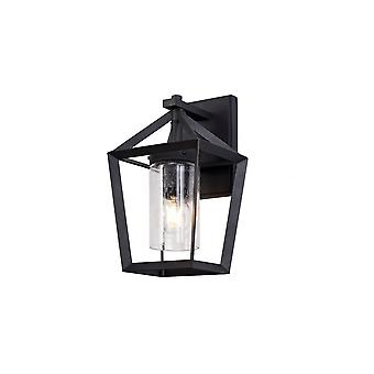 Tilly Down Wall Lamp, 1 X E27, Ip54, Anthracite/clear Rain Drop Effect Glass, 2yrs Warranty