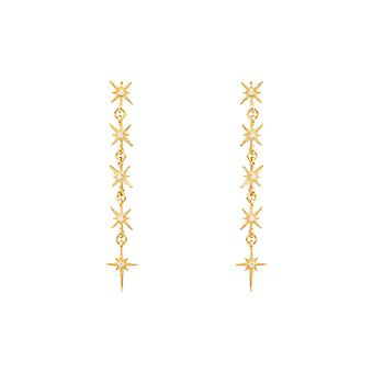 Long Yellow White Sparkly Star Burst CZ Bridal Jewellery 5 Gold Drop Earrings