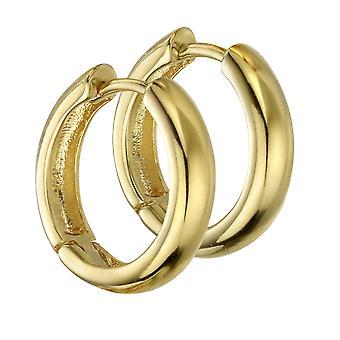 Beginnings 925 Sterling Silver Ladies' Gold Plated Silver Medium Sized Hoop Earrings 16mm