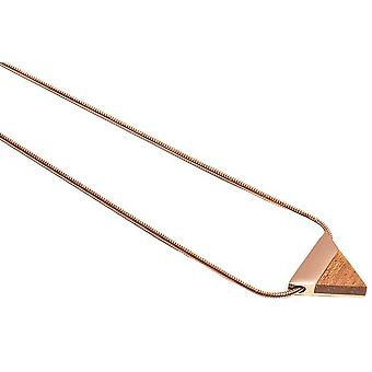 BeWooden Rea Triangle Necklace - Rose Gold/Brown