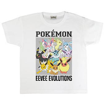 Oficjalne Kids Pokemon Eevee Evolutions T-Shirt Boys Girls Eeveelutions