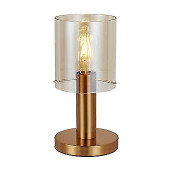 Italux Sardo - Moderne Tischleuchte Messing 1 Licht mit Bernsteinschatten, E27