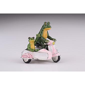 Frogs Riding Vespa With Sidecar Trinket Box