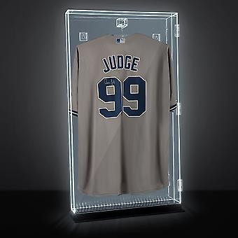 Lux UV Locking Acrylic Wall Mount/Freestanding Jersey Display Case with Lights and Remote Control - Baseball/Hockey/Basketball/Football/Soccer - All Sport Jersey Clear Case