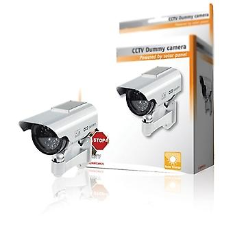Premium Fake / manekin Cctv Security Camera Solar Powered With Flashing LED Light - Indoor Outdoor - Silver