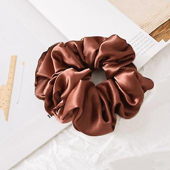 Satin Silk Solid Color Scrunchies Elastic Hair Bands, Women Hair Accessories,