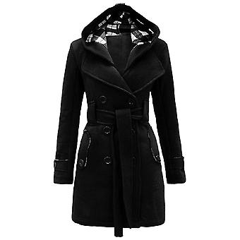Winter Double Breasted Warm  Mid-length Windbreaker With Belt Fashion Clothing