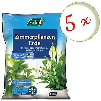 Sparset: 5 x WESTLAND® houseplants earth, 4 liters