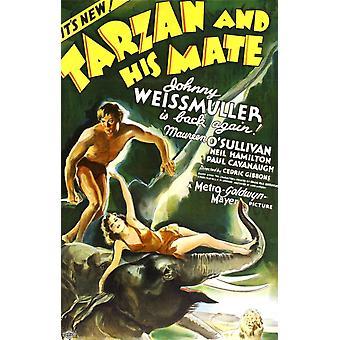 Tarzan ja hänen perämies Johnny Weissmuller Maureen OSullivan 1934 elokuva juliste Masterprint