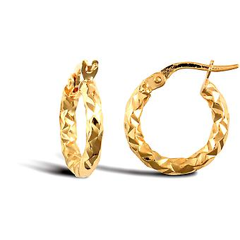 Jewelco London Ladies 9ct Yellow Gold Hammered Faceted 2.5mm Boucles d'oreilles Hoop 15mm