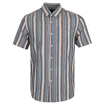 Farah Robertson Stripe Organic Cotton Short Sleeve Shirt- Yale