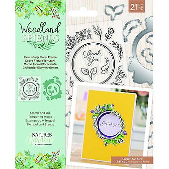 Crafter's Companion Woodland Friends Stamp & Die Flourishing Floral Frame