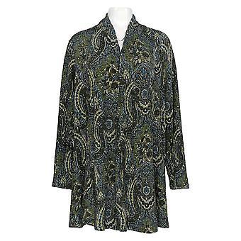 Susan Graver Women's Sweater Plus Print Knit Open Cardigan Green A367775