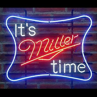 It & s Miller Time Glass Neon Light Sign Beer Bar