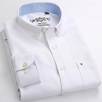 Single Patch Pocket Casual Thick Contrast Standard-fit Long Sleeve Gingham