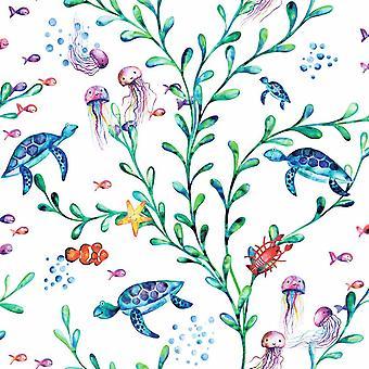 Under the Sea White Wallpaper