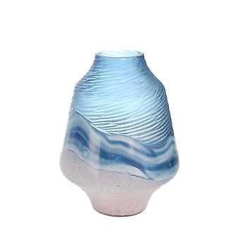 """Glas 11"""" Vase Blau/Rosa"""