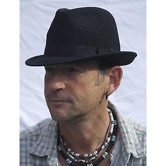 Clássico Sinatra Woolen Men's Fedoras Hat Felt Trilby (preto)