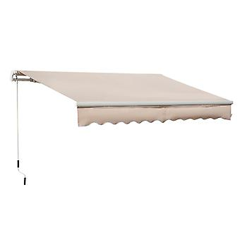 Outsunny 4x2.5m Retractable Manual Awning Window Door Sun Shade Canopy with Fittings and Crank Handle Beige