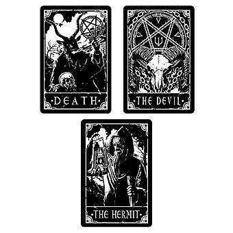 Dödlig tarotdöd Djävulen & Eremit tin plakett setet (förpackning av 3)