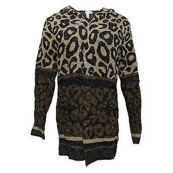 Denim & Co. Women's Sweater Animal Print Hooded Cardigan Brown A367954