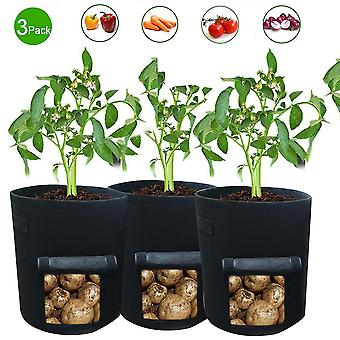 Vegetable planting bags, 3 medium-sized breathable garden planting bags, visible household flower pots with handles