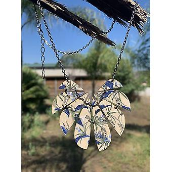 Blue Botanical Necklace #6129