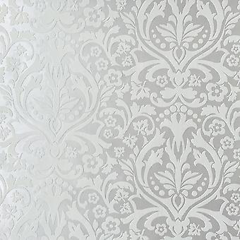 Chelsea 11 Damast Wallpaper Wit / Zilver Rasch 758733