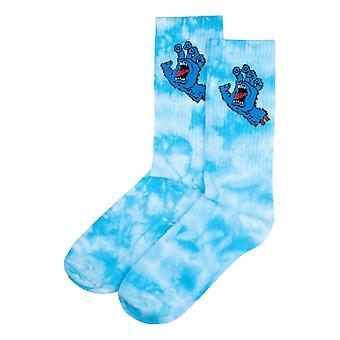 Santa Cruz Screaming Hand Tie Dye Socks - Blue Tie Dye