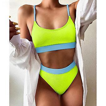 Bikinis taille haute 2021 Maillots de bain Bandeau Maillots de bain Femmes Épissant Biquini Beachwear Sports Maillots de bain côtelés Nouveau