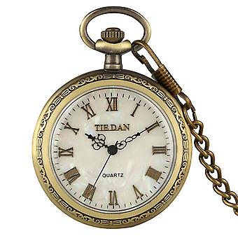 Shell Dial Pocket Watch Colar Vintage Quartz Pendant Watch