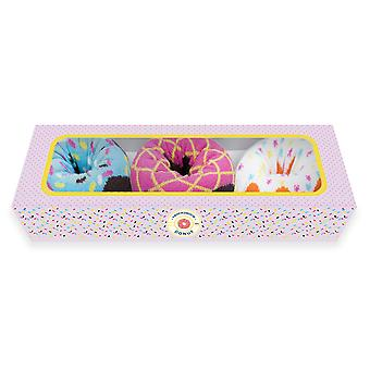 Women's Donut Çorap Kutusu Renkli ve Yumuşak PamukLu Mürettebat Çorap 3 Paketi