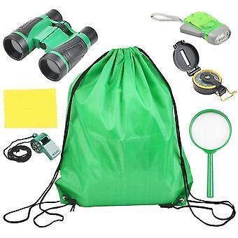 6 Set Abenteuerspiele Spielzeug, Erkundung im Freien, Taschenlampe, Kompass, Lupe, tragbare