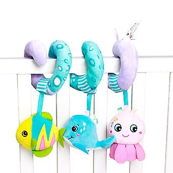 Cartoon Ocean Animals Baby Spiral Toy Cute Stroller Hanging Toy With Sound Paper Bb Device Bell Plush Activity Sipral