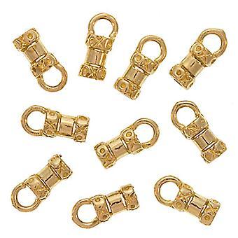 ينتهي الحبل، نمط كريمب نزوة مع حلقة، يناسب الحبل 2mm، 10 قطع، الذهب لهجة النحاس