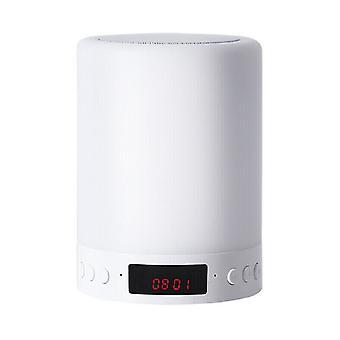 Toque crianças Lâmpada de cabeceira 5 em 1 Bluetooth Alto-falante Despertador Luz noturna LED Lâmpada de mesa USB Recarregável Alto-falante (Branco)
