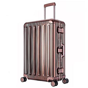 Aluminum Magnesium Alloy Rolling Luggage Mens Business Trolley Suitcase