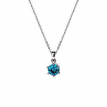 Sirius - Suspension Vive Bleu Solitaire Icônes - Prolongateur 40cm +3cm - Argent - Cadeaux bijoux pour femmes de Lu Bella