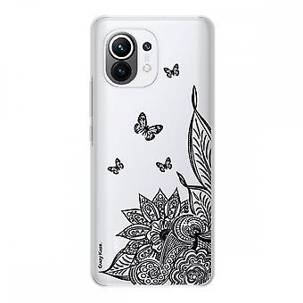 Hülle für Xiaomi Mi 11 Weich Silikon 1 Mm, Mandala Blume Und Schmetterling Schwarz
