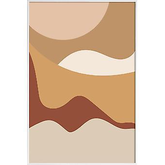JUNIQE Print - Golden Waves - Abstrait & géométrique poster en brun & blanc crème