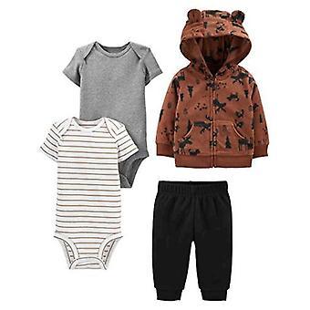 Simple Joys by Carter's Boys' 4-Piece Fleece Jacket, Pant, and Bodysuit Set, Brown Moose, 12 Months