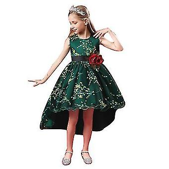 130Cm green princess girls dress for wedding birthday party with size 3-14 years x2110