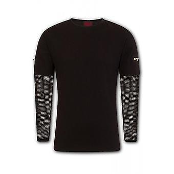 Attitude Clothing Mesh Sleeve Zip Shoulder Long Sleeve